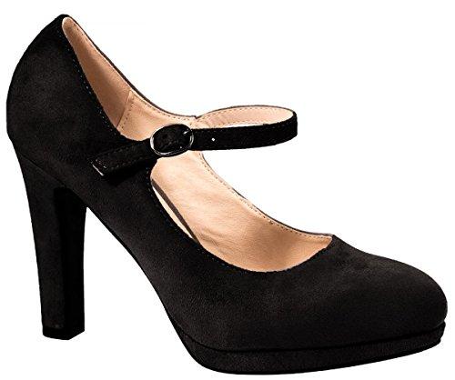 Elara Damen High Heels | Bequeme Spangen Pumps | Riemchen Stilettos Farbe Schwarz, Größe 37