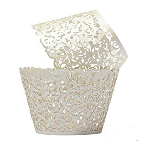 Cupcake Wrappers 100 Filigree Artistic Bake Cake Paper Cups Little Vine Lace Laser Cut Liner Baking Cup Muffin Case Trays for Wedding Party Birthday Decoration (White) by ForPeak Laser-cut-tray