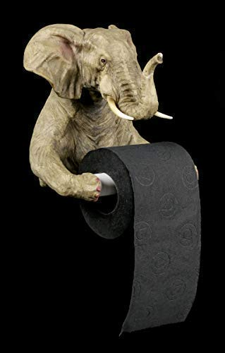 Figuren Shop GmbH Toilettenpapierhalter - Elefant | Dekoartikel fürs Bad, Handbemalt