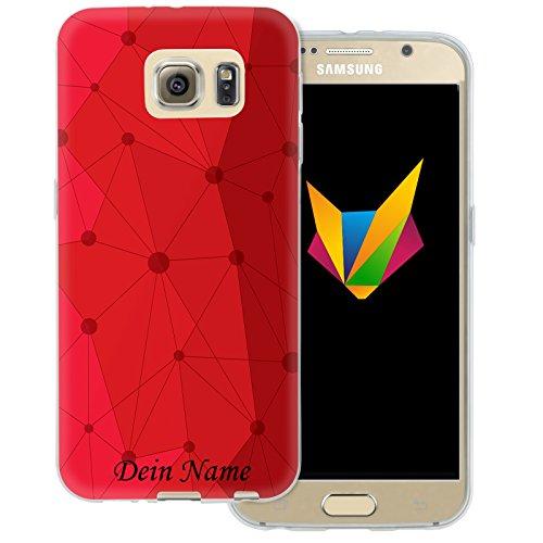Mobilefox Grafik mit Namensdruck transparente Silikon TPU Schutzhülle 0,7mm dünne Handy Soft Case für Samsung Galaxy S6 Grafik Atomium Rot