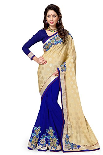 Sourbh Chiffon Saree (8965_Beige,Blue)