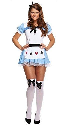 Fancy Me Damen Sexy Teeparty Alice im Wunderland Halloween Kostüm Kleid Outfit STD & Plus - Blau, Blau, STD (UK 10-14)