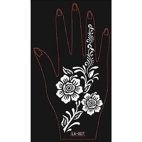 2 fogli Mehndi Tattoo Stencil mano Mehndi