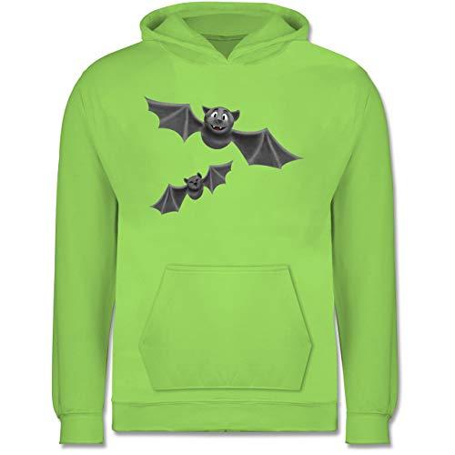 Shirtracer Tiermotive Kind - süße Fledermäuse - 9-11 Jahre (140) - Limonengrün - JH001K - Kinder Hoodie