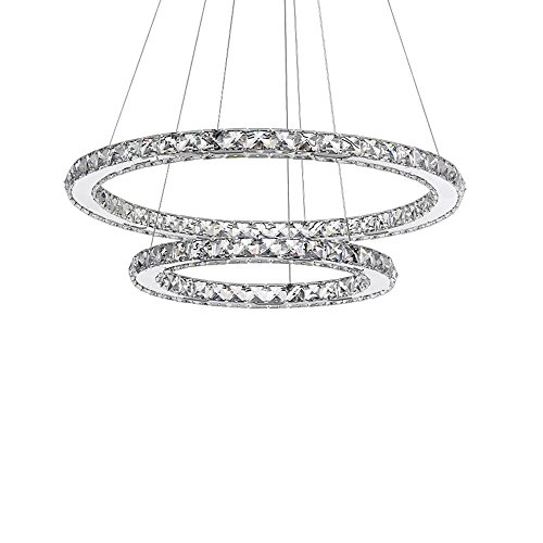 SAILUN 63W LED Crystal Modern Chandelier Chandelier Pendant Lamp, Two Rings Ceiling Lamp Cold White Indoor Lighting (63W Cold White)