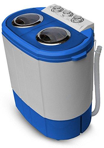 2in1 Mini Waschmaschine | Waschautomat | Camping | Toploader mit Schleuder | bis 3KG (Blau/Weiss)