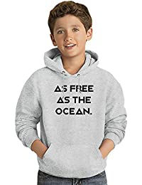 Free as Ocean Los niños Hoodie ligero Lightweight Hoodie For Kids | 80% Cotton-20%Polyester|