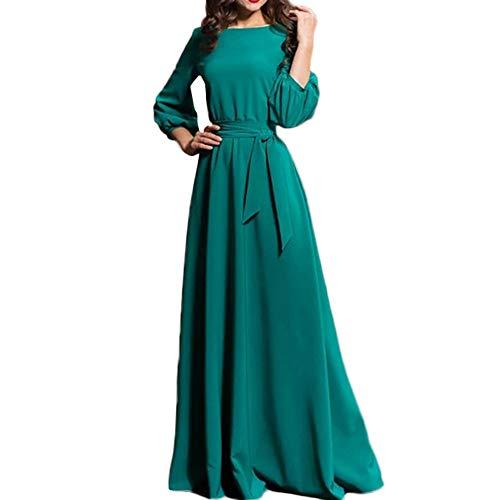 Damen Kleider,Daongff Elegant Maxikleid Vintage 1950erBoho Lang Maxi Kleid Abendkleider Ballkleid Solid Casual Partykleid mit Taschen Gürtel - Maxi-kleid Xxs