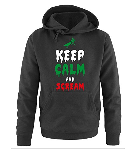 Comedy Shirts - KEEP CALM and SCREAM - Uomo Hoodie cappuccio sweater - taglia S-XXL different colors nero / bianco-verde-rosso