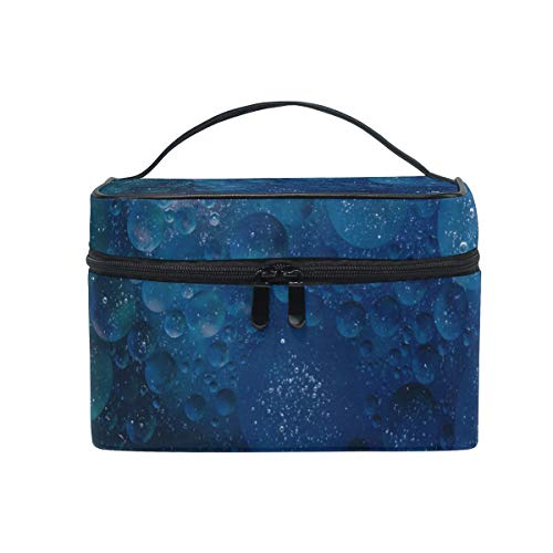 Portable Water Drops Print Travel Cosmetic Bag Makeup Bag Makeup Case Organizer Train Case Toiletry Bag with Large Capacity for Cosmetics Make Up Tools - Designer-drop-bag