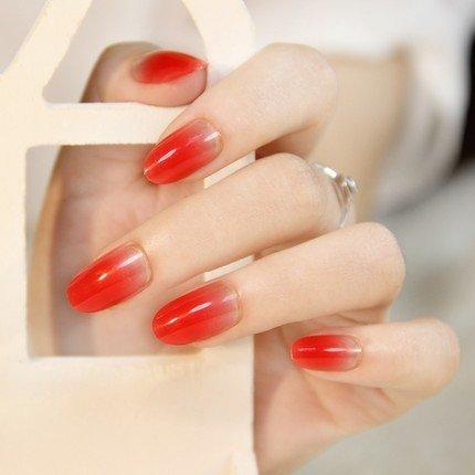 24PCS Oval Falsche Nägel Gefälschte Nagel-Spitzen Französisch Maniküre Hübsche Nagel-Entwürfe Volle Deckung Tipps Rot Gradient zu löschen (Gefälschte Nägel, Leim Auf)