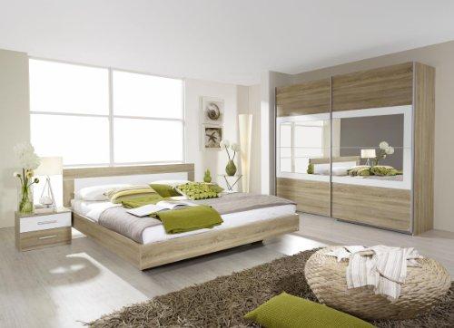 Rauch Schlafzimmer Komplett-Schlafzimmer Set mit Bettanlage 180 x 200 cm und Schwebetürenschrank, Eiche Sonoma Nachbildung, Weiß Alpin