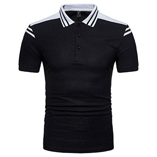 VEMOW Meistverkaufte Herren Sommer Casual Daily Print Muscle Pullover Kurzarm Shirt Top Bluse T-Shirts Pulli Tees für Vatertag Geschenk(Schwarz, EU-50/CN-S)