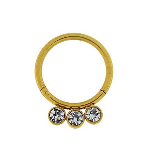 Calibre 14 - 10 MM longueur Grade 23 titane 3 pierres CZ en lunette fixe Segment articulé anneau nez anneau Piercing Or jaune