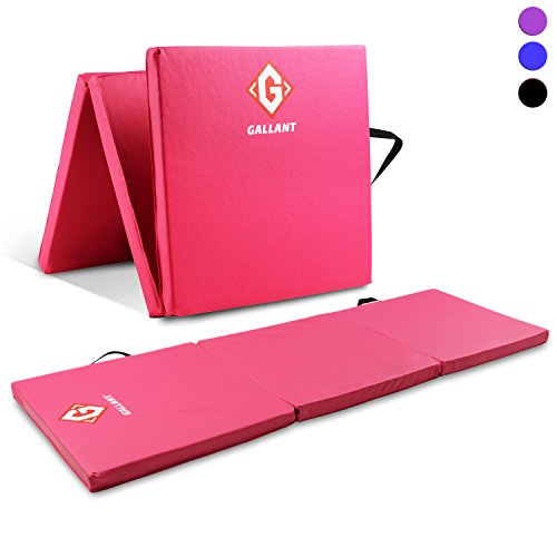 gallant pink gymnastics mats tri folding 5cm thick 180cm x 60cm non slip pu leather tumble track yoga gym fitness exercise floor equipment