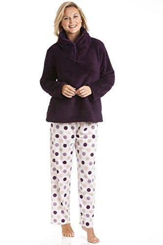 Camille - set pigiama con top in pile morbidissimo e pantaloni a pois - borgogna 46/48
