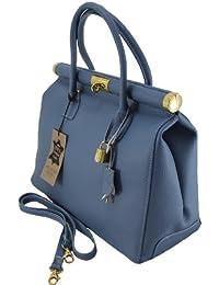 Chicca Tutto Moda Borsa a mano Bauletto da Donna Elegante con Manici e Tracolla in Vera pelle Made in Italy 35x28x16cm
