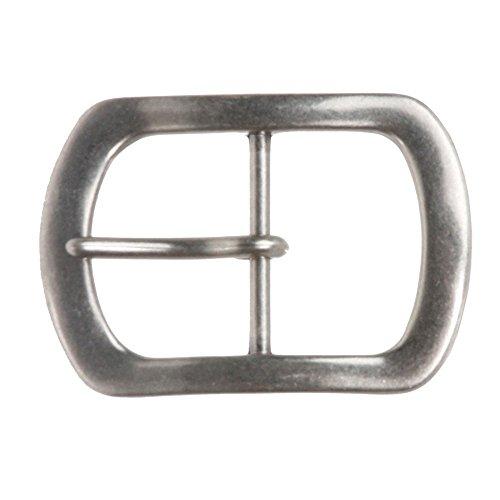 beltiscool da uomo singolo Prong Ovale Fibbia della cintura Antique Silver 4 cm (38 mm)