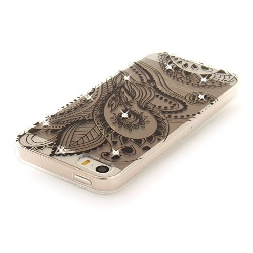 Coque iPhone SE, Étui iPhone 5S, iPhone 5 Case, ikasus® Coque iPhone SE/iPhone 5S Fleur peinte avec Luxe Shiny Glitter Strass Cristal Brillant Bling Diamant Housse Transparent TPU Silicone Étui Housse Fleur de paon