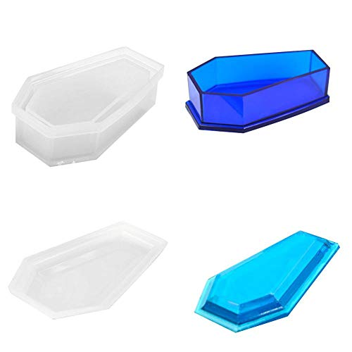Là Vestmon Silikon Form Flower Pot Mould Sukkulente Topf Blumentopf Aufbewahrungsbox mit Deckel Formenbau Mini Sarg Geformte Silikon Formenbau, Multi, B: 2044A Coffin + 2044B Cover Mould (Formenbau-silikon)