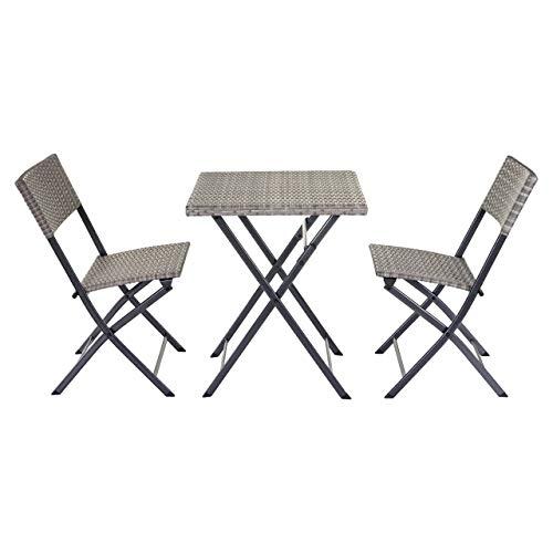 Mendler Poly-Rattan Balkonset HWC-E23, Garnitur Sitzgruppe Gartengarnitur, klappbar ~ grau