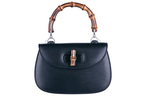 Gucci-womens-leather-handbag-shopping-bag-purse-bamboo-black