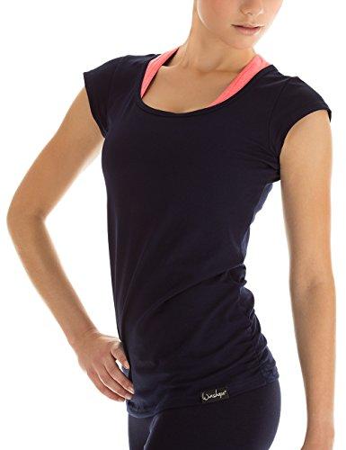 Winshape Damen Kurzarmshirt WTR4 Fitness Freizeit Yoga Pilates,Blau(night-blue),L