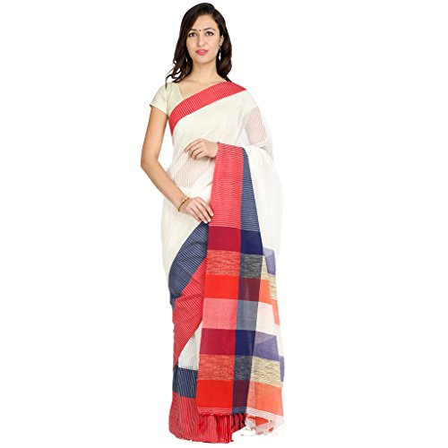 Tanya White with Red, Yellow and Green Border Hand Woven Cotton Mahapar...