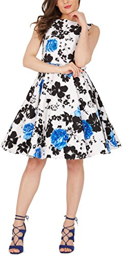 BlackButterfly 'Audrey' Serenity Vintage Rockabilly Floral 1950s Dress (White & Blue, UK 22)