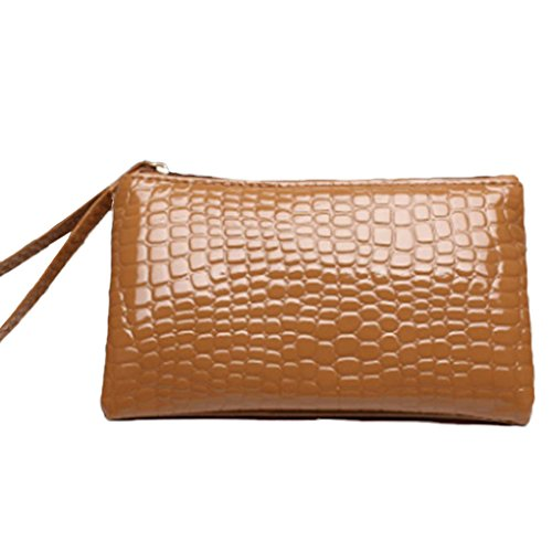 Gemini _ Mall® da donna in finta pelle borsa frizione portafoglio con rigido compatibile con iPhone 6/7Plus Gold