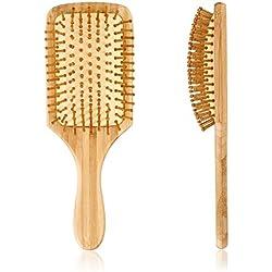 Pretty See Cepillo de pelo de Madera Peine de Masaje Cuero Cabelludo Cepillo de Masaje Cojín de Aire Anti-Estático (B)