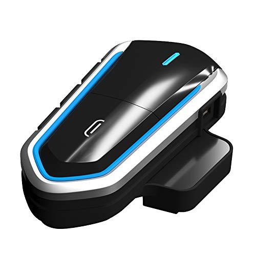 Alicer Motorrad Headsets Bluetooth Motorradhelm Intercom Wasserdicht Gegensprechanlage Wireless Sprechanlage Helm Headset mit FM Radio, MP3 Player(Blue)