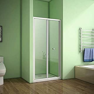 Aica Bathrooms 900mm Bifold Shower Glass Enclosure Door, aluminum Electroplating White, 900x1850mm