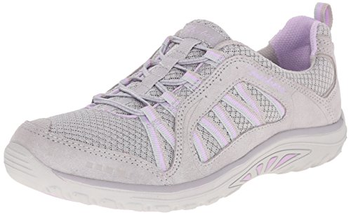 Skechers Reggae Fest-Epic Advent, Baskets Basses Femme Light Grey Suede/Mesh/Light Purple Trim
