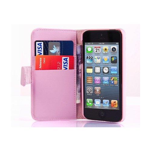 iPhone SE, iPhone 5 / 5s Lederhülle   JAMMYLIZARD Ledertasche [ Wallet Series ] Leder Hülle Flip Case Cover Schutzhülle mit Kartenfach, Schwarz HELLROSA
