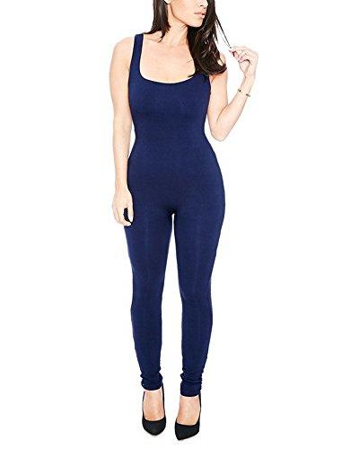 SaiDeng Femme Casual Slim Fit Plage Jumpsuit Rompers Bodysuit Sport Combinaison Bleu foncé