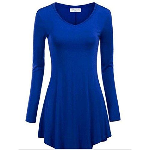 Minetom Femmes T-shirt Asymetrique de Base Tops Blouse Col rond Pull-over Hauts Tie-dye Bleu