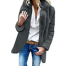 Yvelands Womens Lapel Warm Chaqueta de Abrigo de Lana Artificial de Invierno Prendas de Vestir Exteriores