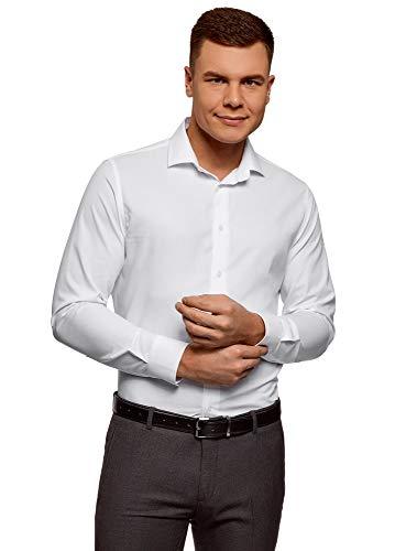Oodji ultra uomo camicia basic con maniche lunghe, bianco, 39cm / it 44 / eu 39 / s