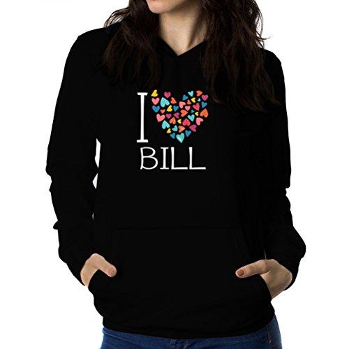 I love Bill colorful hearts Sweat à capuche Femme