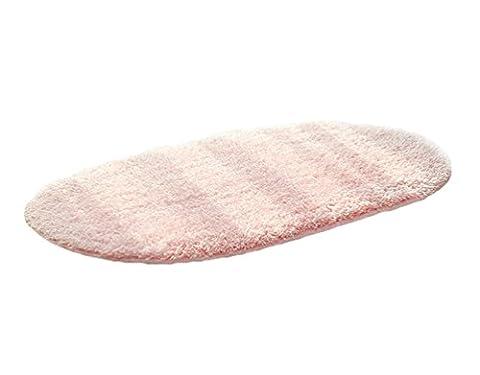 TenYid 65x45cm Ovale Tapis de Bain Doux Microfibres Antidérapant Absorbant Salle de Bain Sol Décoration Rose