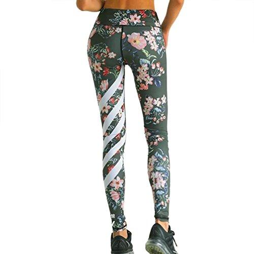 Damen Leggings Ronamick Womens Floral Gedruckt Yoga Workout Gym Leggings Fitness Sport Gestreiften Hosen (L, Armee grün) Weiß Floral Tights