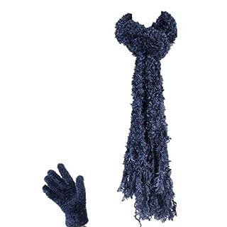 1 no. Jennifer Anderton Ladies Winter Warm Luxury Feather Cosy Soft Scarf & Gloves Set (Steel)