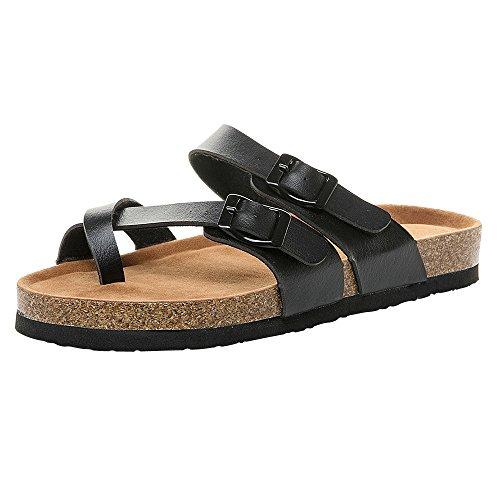 YEARNYLY Damen Schnalle Platform Sandals Sommer Bequeme Sandalen Big Toe Hallux Valgus Unterstützung Flach Flip Flops Zehentrenner Hausschuhe Strand Reise Schuhe (Wonder Woman Boots)