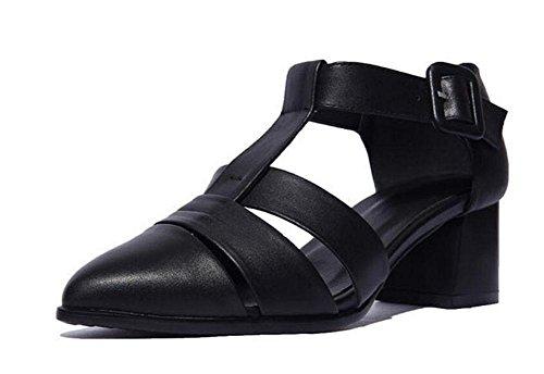 GLTER Donna con punta a punta in pelle tacco medio Heels Sandali romani Scarpe da ginnastica Nero Blu Black