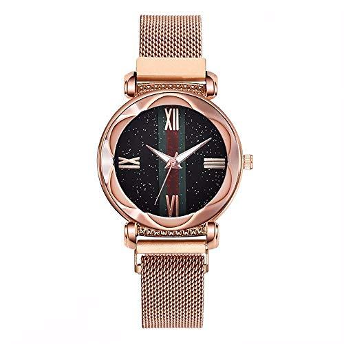 QWRjj Reloj de Pulsera Mujeres Imán Hebilla Starry Sky Watch Moda Damas Geometric Surface Quartz Watch...