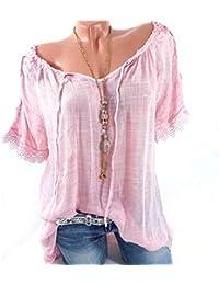 Mujer Blusa De Carmen Manga Barco del Corta Cuello Fuera Ropa Festiva  Hombro con Encaje Camisas Verano Vintage Moda Anchos… 3715a19196f