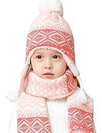 LAPLBEKE Unisex Baby Gorra Beanie Bebé Niña Punto Gorro Invierno Gorro para Niños Pequeños Niños Earflap Sombreros para Chica Bufanda Sombrero Set