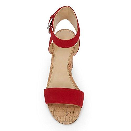 Damen Open Toe Sommer Samt Sandalen High-Heels Keilabsatz Knöchelriemchen Schnalle Rot