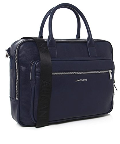 Armani Jeans Hommes Mallette simili cuir Bleu Blu